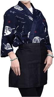 Mens Women Sushi Chef Jacket Japanese Kitchen Uniform Sushi Workwear Kimono Cardigan (Navy, S)