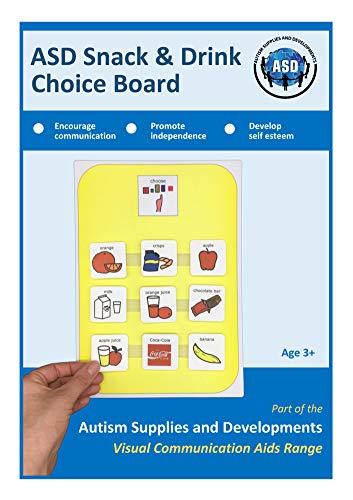 Autism Supplies And Developments Plastic Visual ASD Snacks Choice Board (Picture Communication Symbols)