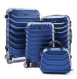 R.Leone Valigia Set 4 Trolley Rigido grande, medio, bagaglio a mano e beauty case 4 ruote in ABS 2026 (Blu,...