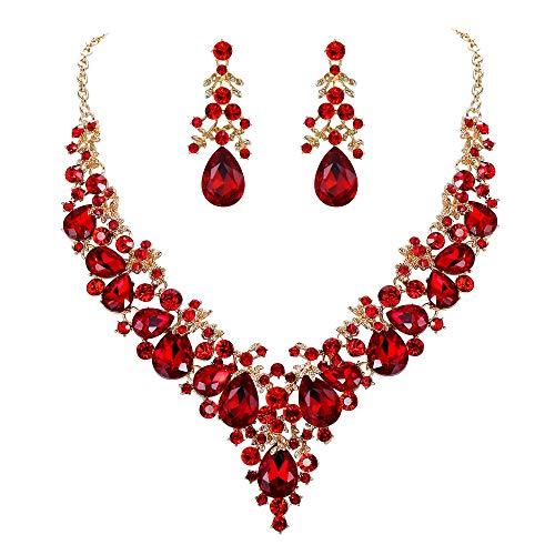 EVER FAITH Juegos de Joyas para Mujer Cristal Austríaco Boda Banquete Floral Hoja Lágrima Collares Pendientes Conjunto Rojo Tono Dorado