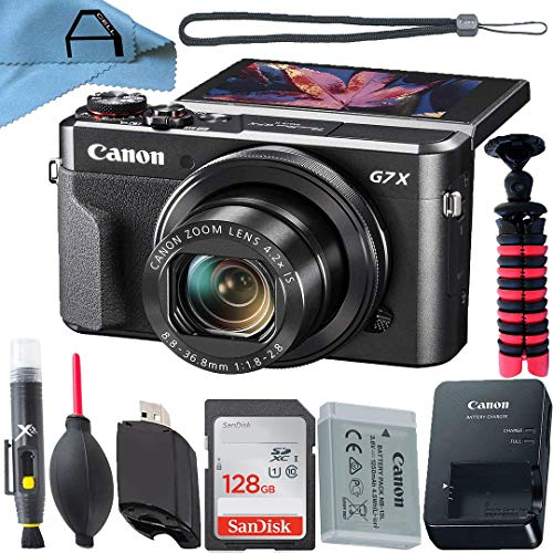 Canon PowerShot G7 X Mark II Digital Camera 20.1MP Sensor with SanDisk 128GB Memory Card, Tripod and A-Cell Accessory Bundle (Black)