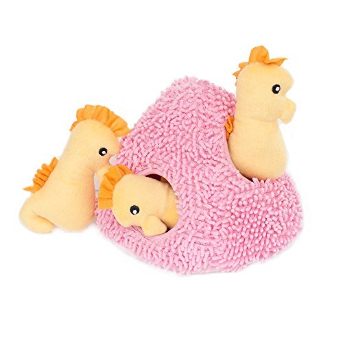 ZippyPaws Sea Buddies Burrow Interactive Dog Toys - Hide and Seek Dog Toys and Puppy Toys, Colorful Squeaky Dog Toys, and Plush Dog Puzzles, Seahorse 'n Coral