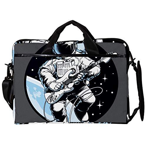 TIZORAX Laptop Messenger Schultertaschen Astronaut spielt Gitarre Computer Sleeve Notebook-Tragetasche 15-15,4 Zoll Handtasche