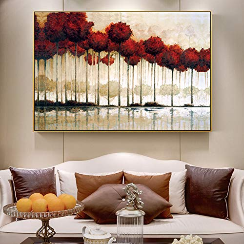 SADHAF Reflexion rode boom op canvas schilderij op landschap muur schilderij Pop Art voor de decoratie van de kamer 70X100cm (sin marco) A6