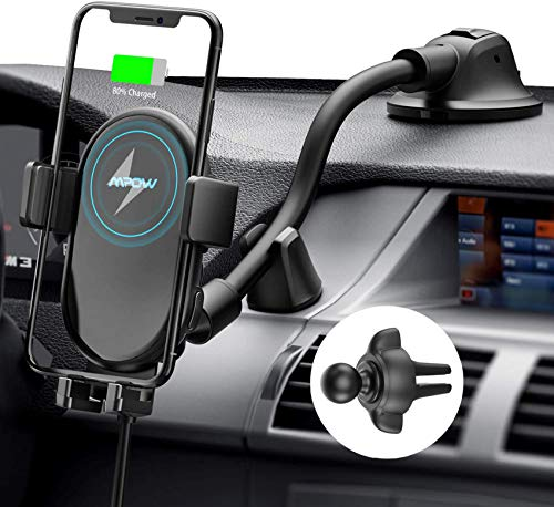 Mpow Car Mount Wireless Charger, Qi Car Charger 10W/7.5W/5W, Auto-Clamping Car Wireless Charger, Dashboard Air Vent Car Phone Mount, Compatible/w iPhone 11 Series/X/XR, Galaxy Note10/S10/S20 Series