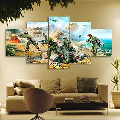 AMOHart Leinwanddrucke Moderne HD 5 Stück Fallschirmjäger Armee Kunst Poster Wall Art Home Decor kreative Kunstwerke Drucke auf Leinwand Rahmen