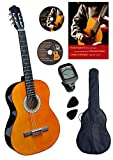 Clifton Guitare classique acoustique 4/4 marron – kit debuttants avec CD Karaoké, DVD d'apprentissage et accessoires