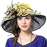 VECRY Mujeres Organza Church Derby Fascinator Sombrero Nupcial Boda Pamelas (603-Amarillo)