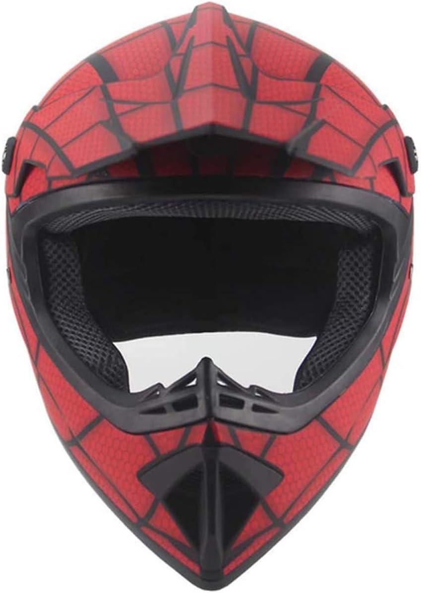 rosso//Ragnatela I bambini e gli adulti di motocross Casco set con gli occhiali di protezione maschera guanti WEITY Fronte pieno MTB del casco S per Downhill MX AVT Dirt Moto Bike