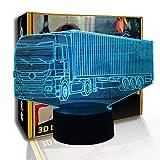 KangYD 3D Nachtlicht Container Truck, LED Optische Täuschung Kid Lampe, E - Alarm Clock Base (7...
