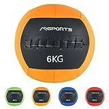 MSPORTS Wall-Ball Premium Gewichtsball 2-10 kg Medizinball (6 kg - Orange)
