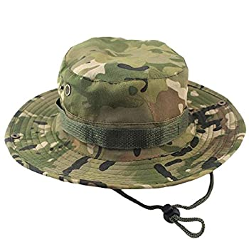 Tanming Outdoor Summer Wide Brim Boonie Hat Military Camo Sun Cap for Men or Women  Cp