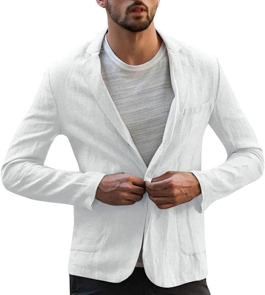 Men's Slim Fit Lightweight Linen Long Sleeve Top Coat Jacket Tailored Blazer One-Button Casual Comfy Outwear (White, 3X-Large)