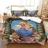 ティーンエイジャーの寝具セット羽毛布団カバーファッション3D羽毛布団カバー 200x200cm 聖母マリア キッズチルドレン用3ピース軽量マイクロファイバー羽毛布団カバーセット