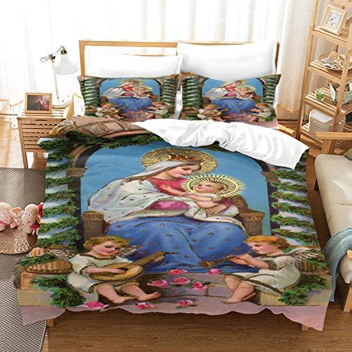 HKDGHTHJ® Juego de Funda nórdica 3D de 4 Piezas Virgen María 220 x 230 CM Juego de Ropa de Cama Funda de edredón Sábana Fundas de Almohada Juego de Ropa de Cama Ropa de Cama Textiles para el h