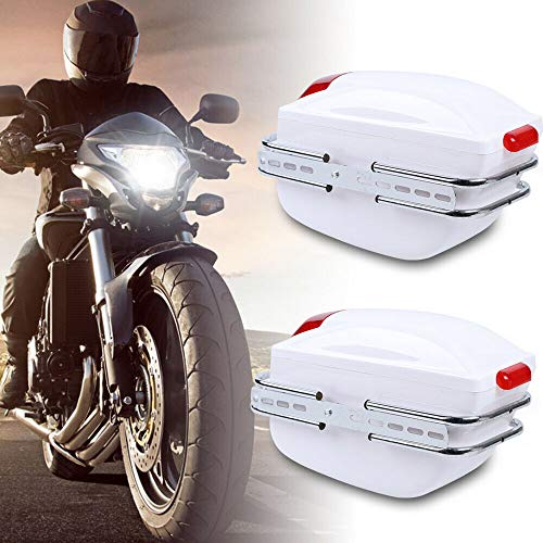 Juego de 2 maletas laterales universales para motocicleta, ABS, con llave, rígidas, equipaje, con parachoques, compatible con Honda Cruiser, Kawasaki, Suzuki