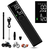 VEEAPE Mini Tire Inflator Air Pump 120 PSI, Portable Electric Bike Pump with Pressure Gauge LCD Display, LED Light, Rechargeable Air Compressor for Car, All Bicycles, Balls and Swim Rings