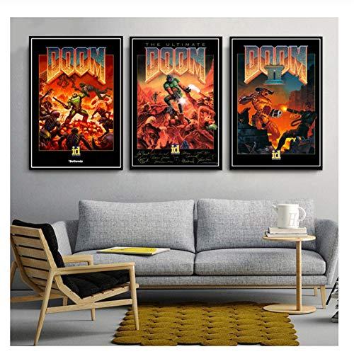 nr Halo Videospiele The Ultimate Doom Wandkunst Leinwand Malerei Poster Klassische Bilder Für Wohnzimmer Wohnkultur-50x70cmx3 Kein Rahmen