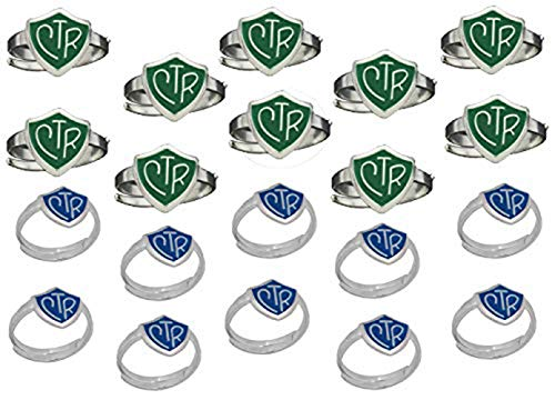 H14G - H14B Size Adjustable 20 Pack Green and Blue CTR Ring Mormon LDS Unisex One Moment In Time