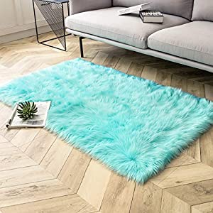 Ashler Soft Faux Sheepskin Fur Chair Couch Cover Area Rug for Bedroom Floor Sofa Living Room Turquoise Rectangle 3 x 5 Feet