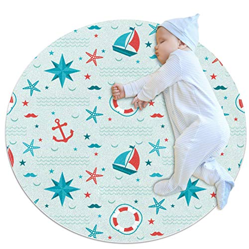Alfombra Redonda Ancla de velero Estrella de mar Alfombra Redonda decoración Arte Antideslizante niños Lavables a máquin Suave Sala Estar Dormitorio de Juegos para 80x80cm
