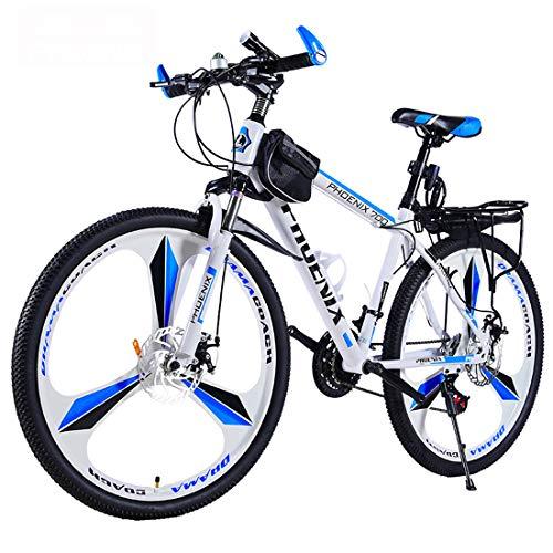 Mountainbike, 26 Zoll Räder Fahrrad, Doppelscheibenbremsanlage, 21/24/27 Geschwindigkeit MTB, (Schwarz, Rot, Schwarz, Blau, Weiß Rot, Weiß Blau) 3 Cutter Räder, 6 Schneidrad,C1,27