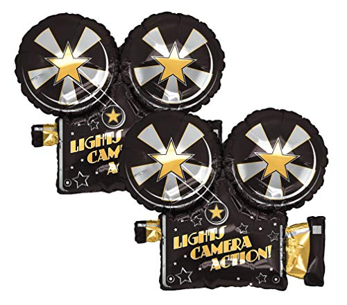 "Set of 2 Lights Camera Action Movie Camera 32"" Foil Party Balloons"