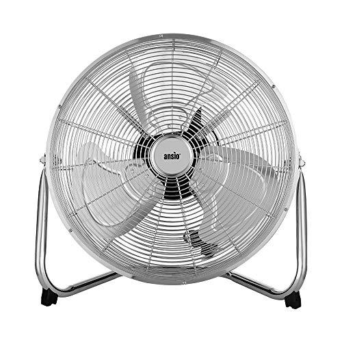 Bodenventilator Hochgeschwindigkeits-Windmaschine 50 cm / 20 Zoll für Fitnessstudio, 3 Geschwindigkeitsstufen, 120 Grad vertikale Neigung, verchromt