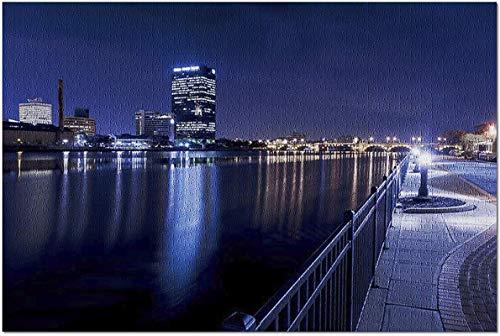 Toledo, Ohio - Skyline de noche con luces de la ciudad que reflejan 1000 piezas de rompecabezas para adultos