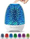 Aiscool Luz Noctura con Altavoz Bluetooth Lámpara de Mesita Multicolor LED Luces de Noche Tactil Recargable (Patrón de cielo estrella)