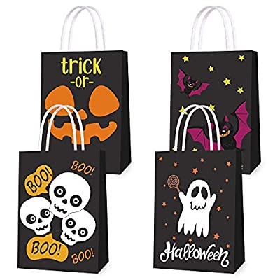 16 PCS Halloween Treat Bags for Kids Trick or Treat Candy Bags, Glow in The Dark Bags with Handles for Halloween Party Favors