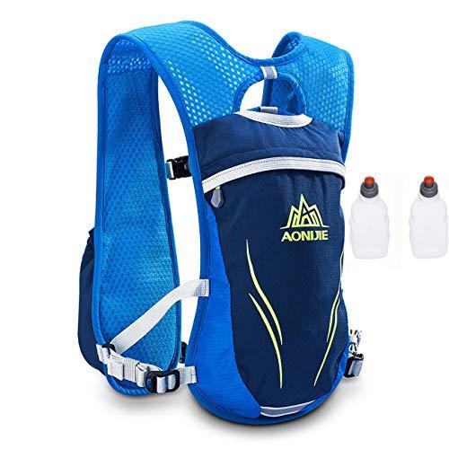AONIJIE Unisexo 5.5L Running Race Hydration Vest Mochila de hidratación Mochila con 2 botellas de 250 ml (Azul)