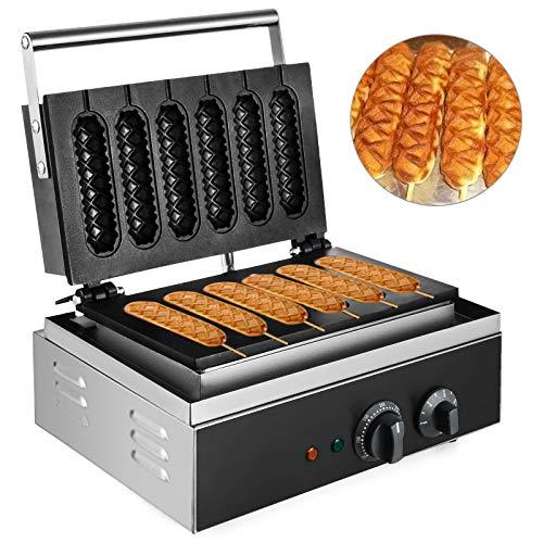 VEVOR Waffelmaschine 1500 W, Waffeleisen 385 x 370 x 100 mm, Waffelautomat 130 x 30 mm Jede Waffelgröße, Waffle Maker 50-300 °C, 0-5 Minuten, Waffeleisen Eis Edelstahl, Sechs Gitter, Sandwichmaker