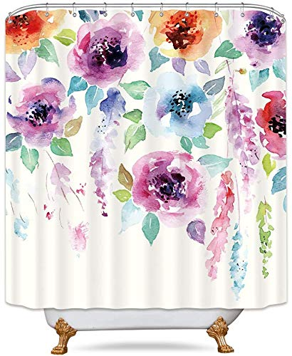 Riyidecor Spring Watercolor Flower Shower Curtain Abstract Modern Blooming Floral Leaves Art Print Multicolor Girl Woman Waterproof Fabric Bathroom Home Decor 72x72 Inch 12 Shower Plastic Hooks