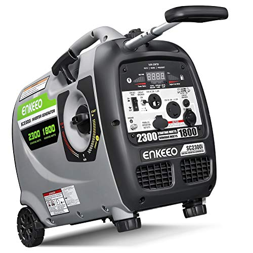 ENKEEO 2300W Generator Portable Inverter, Fuel Power Inverter Generators SC2300i Gas Petrol Powered Power Supply 120V Output, Super Quiet Parallel Ready for Camping Travel gas generator inverter