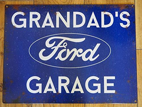 """Generic Brands Großes Blechschild mit Aufschrift """"Grandad's Ford Garage"""", Vintage-Stil, Escort Focus ST Mustang Dad Geschenk, Auto-Liebhaber, 30 x 20 cm"""