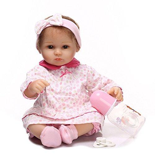 Babypuppen,Simulation Babypuppe 40cm Mädchen Eltern-Kind Frühpädagogisches Spielzeug Weiche Silikonpuppe, 40cm