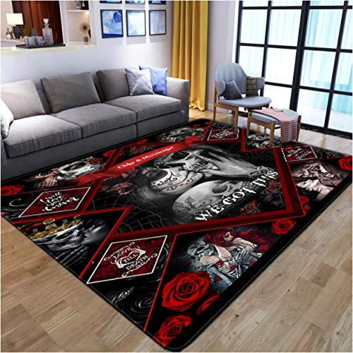 Abstract Skull 3D Printing Carpet Living Room Bedroom Non-Slip Carpet Coffee Table Sofa Area Exquisite Polyester Carpet140*200Cm