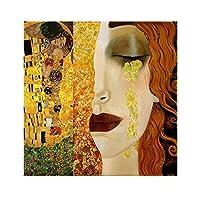 グスタフクリムトの有名な絵画黄金の涙とキスのキャンバスの絵画壁の芸術は居間の家の装飾のための写真を印刷します30x30cm(12x12in)フレームレス