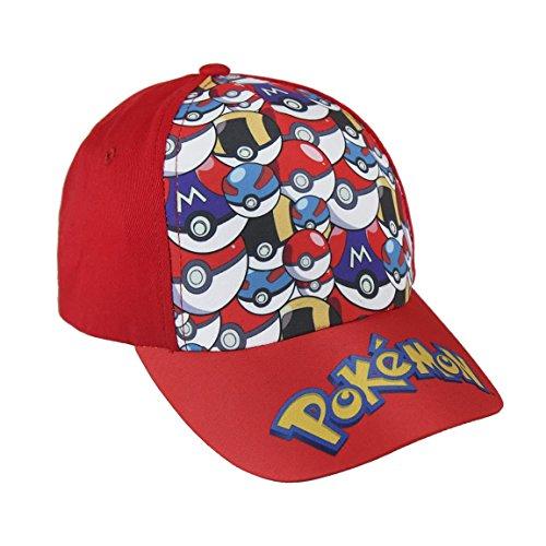 Pokémon 2200-2394 Gorra, Algodón, Niño (Rojo)