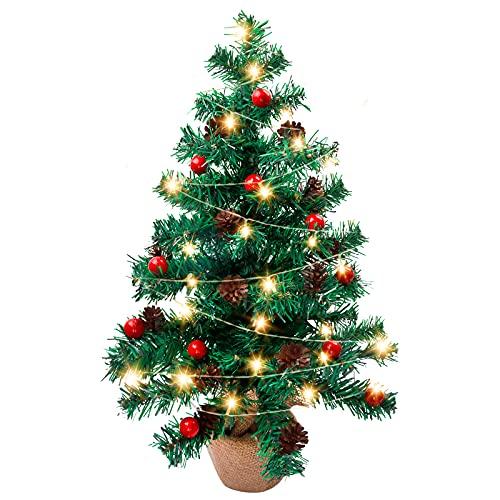 Árbol de Navidad de Mesa, Siebwin 60cm Mini Árbol Navidad con Luces LED y Adornos Pequeño árbol de Navidad Artificial con 60 Ramas y Puntas para decoración de Oficina en casa de Vacaciones