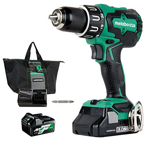 Metabo HPT DV18DBFL2T 18V Cordless Hammer Drill | Includes Two Batteries | 1 - 36V/18V Multivolt 5.0 Ah & 1 - 18V Compact 3.0 Ah Battery | 1/2' Keyless Chuck | 620 In/Lbs Turning Torque