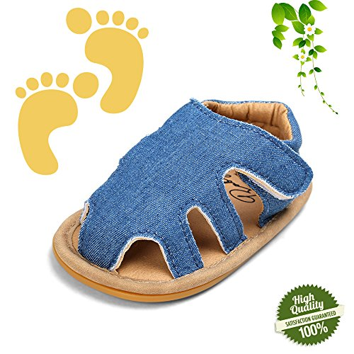 Baby Schuhe Frühling Sommer, Morbuy Lauflernschuhe Fashion Unisex Sandale Weiche Leder Neugeborene 0-18 Monate Krabbelschuhe Wanderer Weiche Alleinige Schuhe (0-6 Monate, Jeansblau)