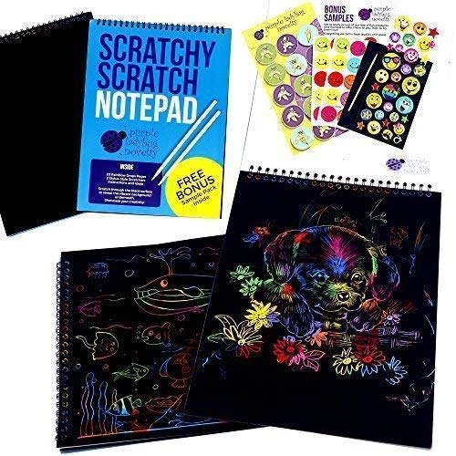 Purple Ladybug Novelty Cuaderno de Manualidades para Rascar Bloc de Anillas de Formato Grande con 20 Hojas de Papel Rascable Multicolor, Ideal para Colorear y Dibujar | Incluye una Muestra Gratis