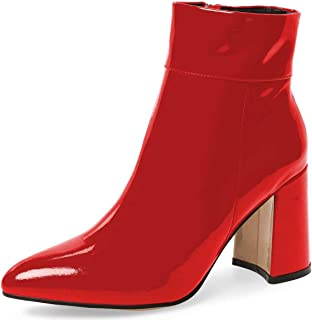 Womens Party Shoes Patent Leather Med Heel Zip Ankle Riding Boots Fashion Big SZ