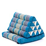LEEWADEE 1-Fold Mat with Triangle Cushion – Comfortable TV Pillow, Foldable Mattress with Cushion Made of Eco-Friendly Kapok, 30 x 20 inches, Light Blue