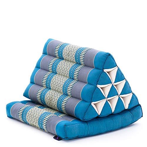 Leewadee Foldout Triangle Thai-Cushion Floor-Seat with Back-Rest Reading Pillow TV Pillow Lounge-r Foldable Out-Door Mattress, 75x50x40 cm, Kapok, light blue