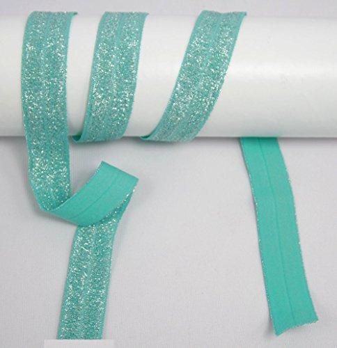 Schrägband elastisch, Glitzer, Falzband, 20/10mm, Kantenband, Gummi, nähen, Meterware, 1 Meter (türkis)