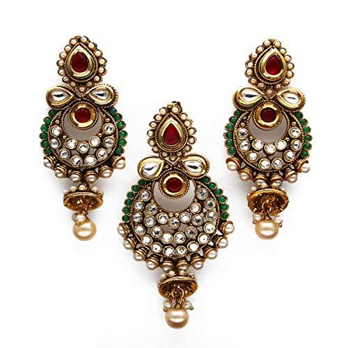 Caratyogi cobre chapado en oro Multi Rojo-verde-cristal
