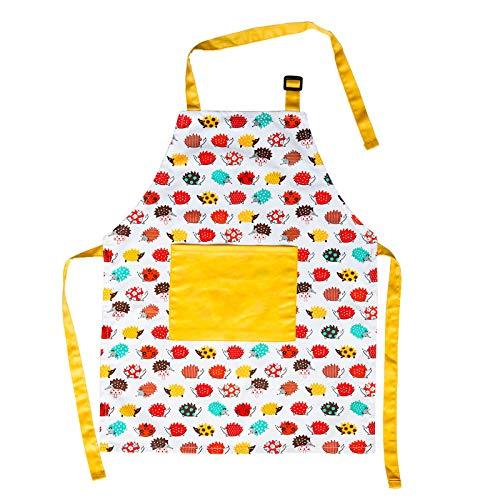Cotton Unisex Childrens Apron Adjustable Neckband Girl Chef Apron Cute Hedgehog Pattern